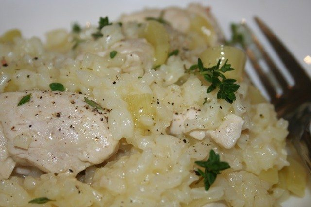 baked chicken and leek risotto recipe