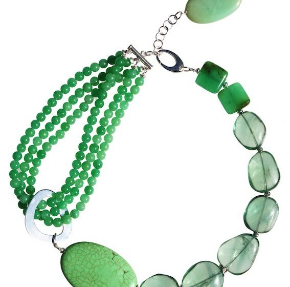 KG- R3120 chrysophrase, fluorite__ and green magnesite and sterling silver