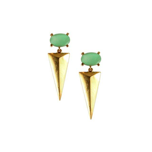 GE002g- variscite and vermeil gatsby earrings R2050