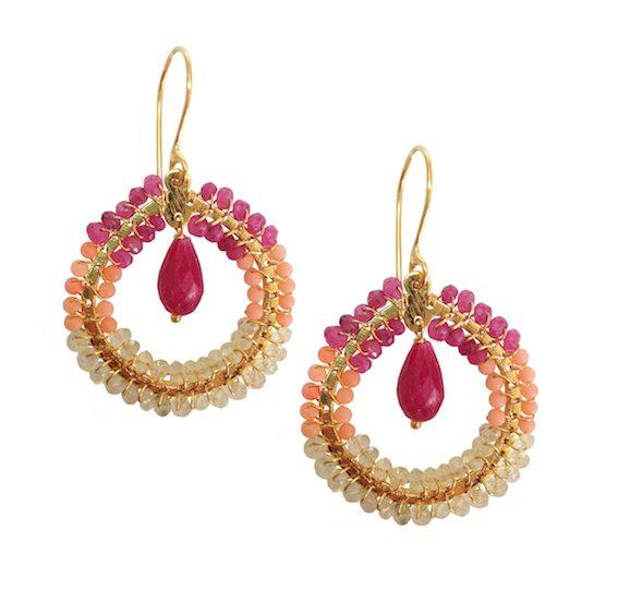 Ze950g mini tapestry earrings in ruby, coral seabamboo and lemon citrine- R1820