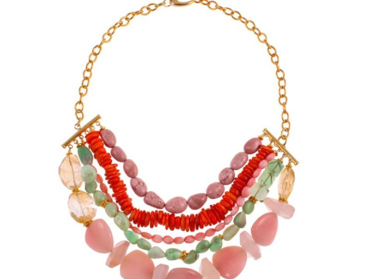 Zn1810g- coral magnesite, pink magnesite, coral seabamboo, chrysophrase, pink opal, golden citrine and rose quartz R4280