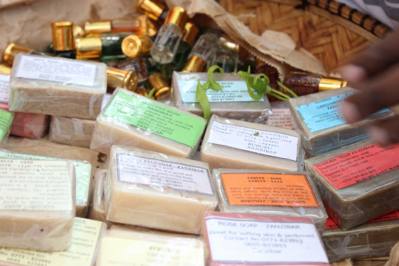 Locals selling soaps and fragrances made from spices