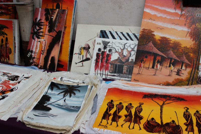 Prints on canvas for sale in local shop in Stone Town