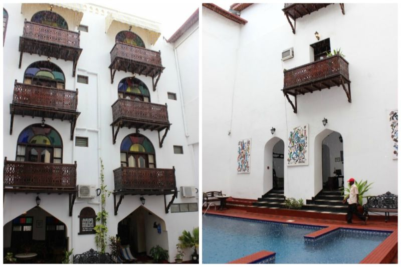 Different hotel building styles in Stone Town Zanzibar