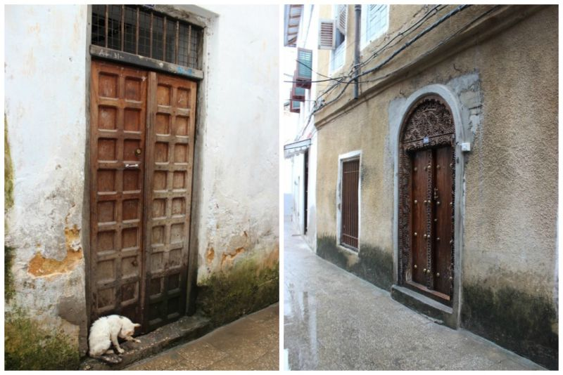 Famous stone town wooden front doors