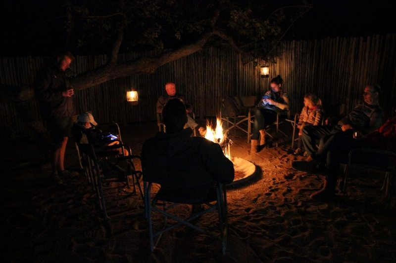 safari camp fire
