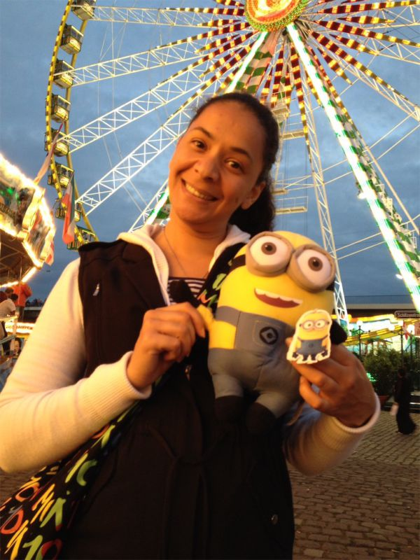 At the FunFair after winning a Minion
