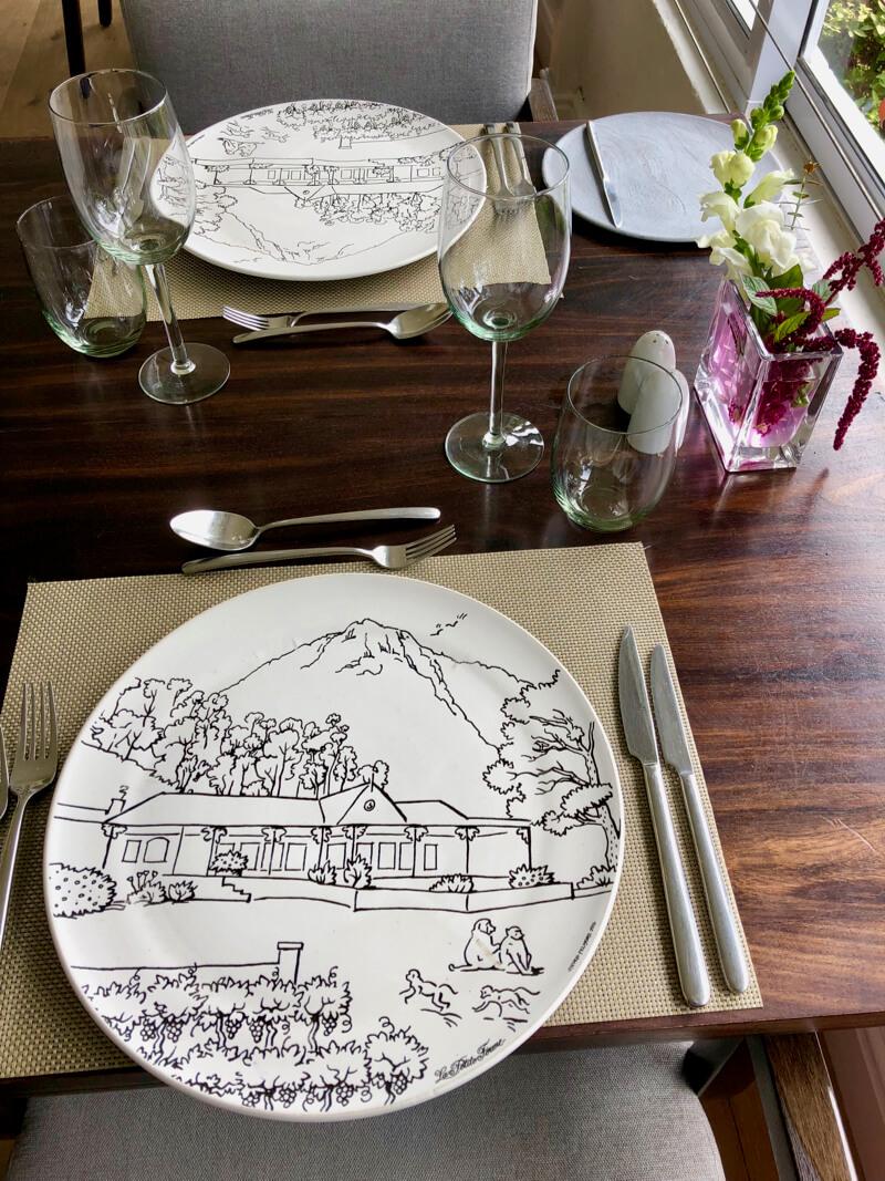 Our table setting at La Petite Ferme