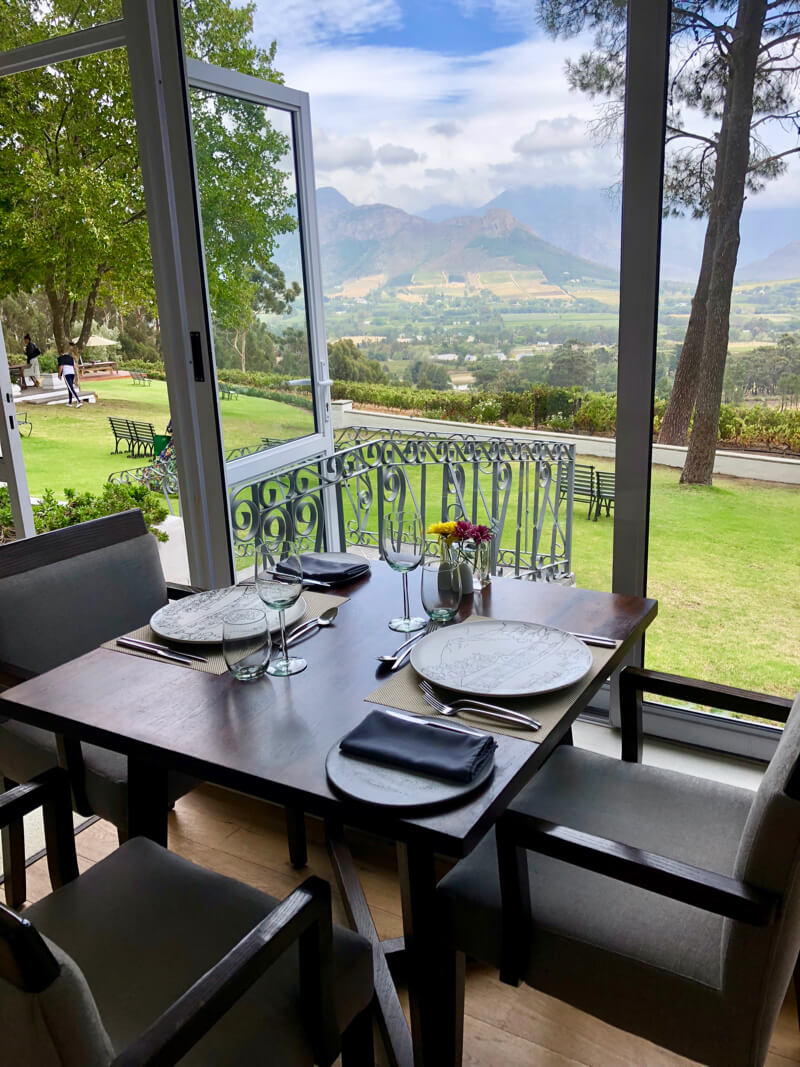 Delightful view from our table at La Petite Ferme Franschhoek Restaurant and Wine Farm