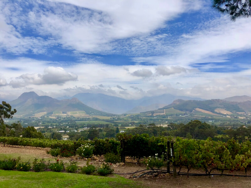 Panoramic view from La Petite Ferme restaurant on the Franschhoek wine route