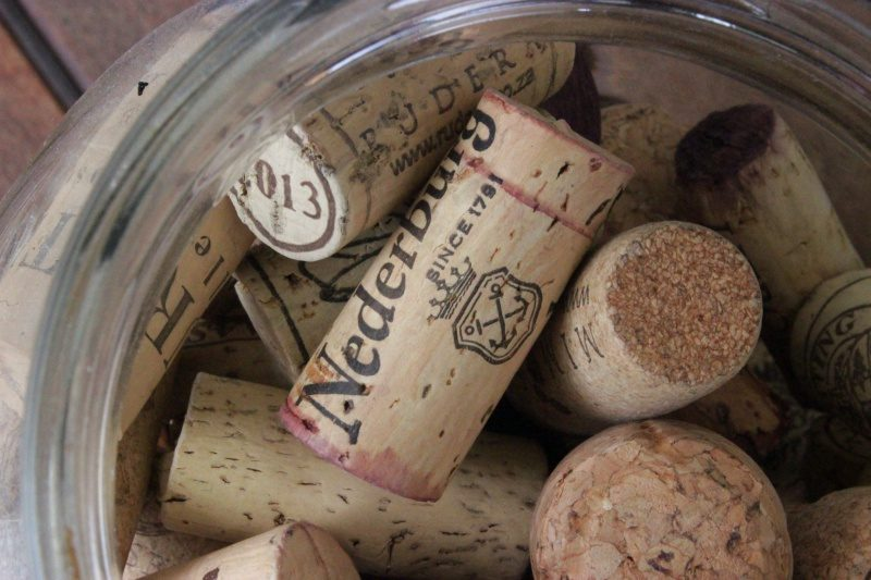 Wine corks in a jar