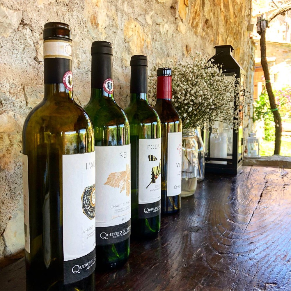 Range of red and white wine at Querceto di Castellina