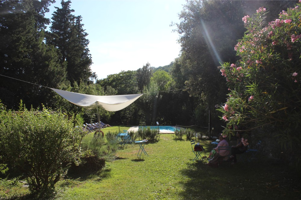 View of the pool area at Castel del Piano