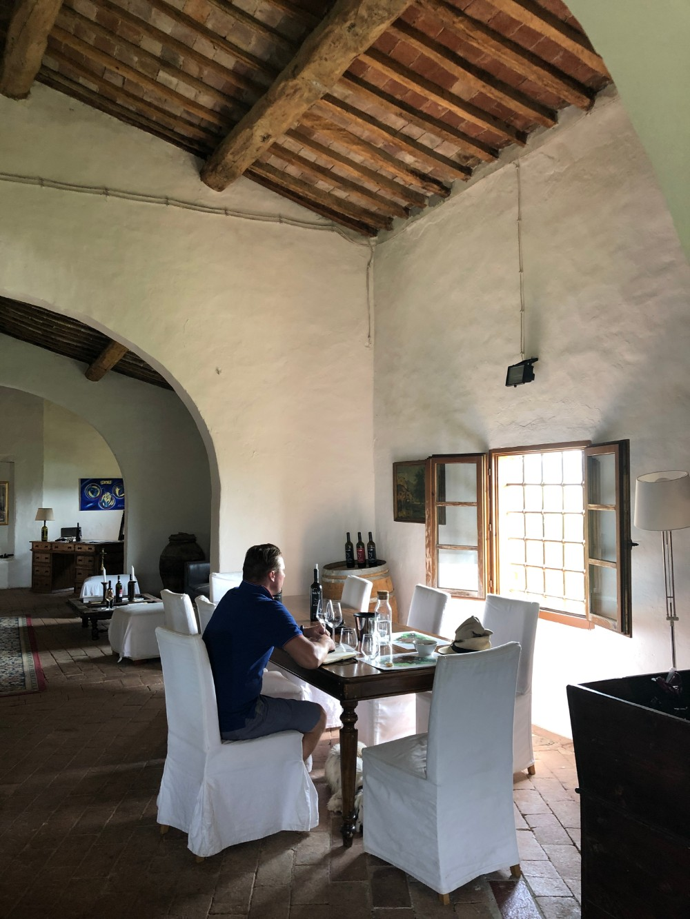 Contemplating the wines in the wine tasting room at castello tricerchi
