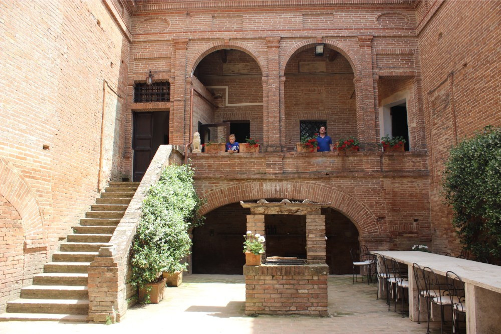 Looking up to the stairs on the beautiful courtyard at castello tricerchi