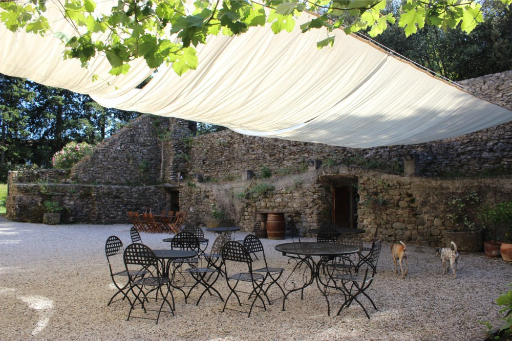 The beautiful courtyard at Castel del Piano