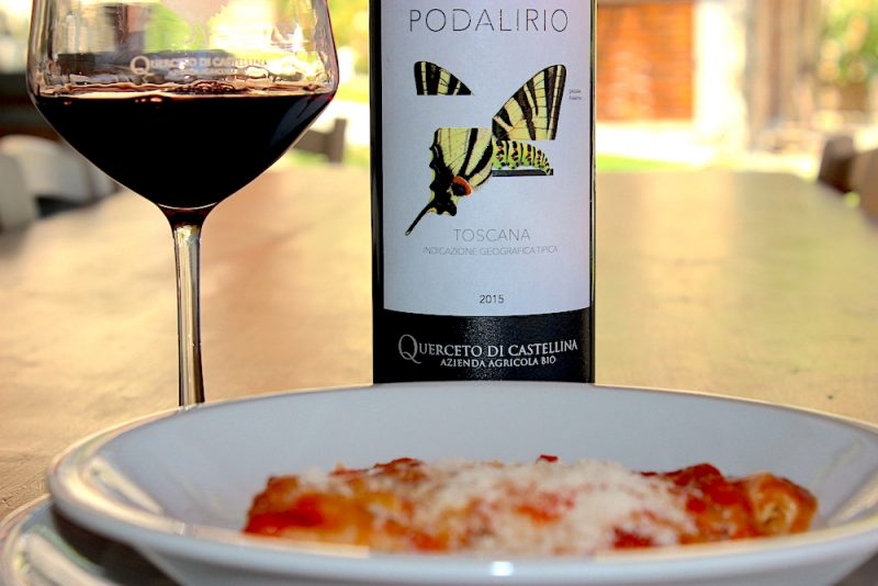 A delicious bowl of home made italian pasta paired with a stunning red wine